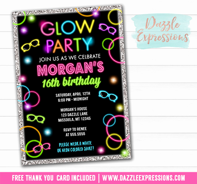 Glow Party Invitation Template Best Of Printable Glow In the Dark Birthday Ticket Invitation