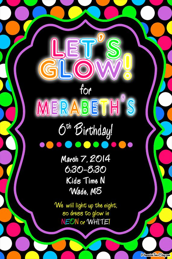 Glow Party Invitation Template Free Awesome Neon Glow In the Dark Inflatable Party Invitation by