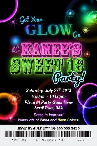 Glow Party Invitation Template Free Beautiful Glow Neon and Invitation Wording On Pinterest