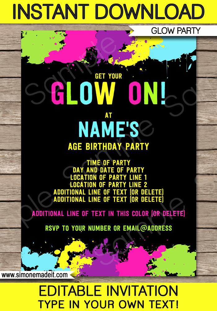 Glow Party Invitation Template Free Beautiful Neon Glow Party Invitations Template