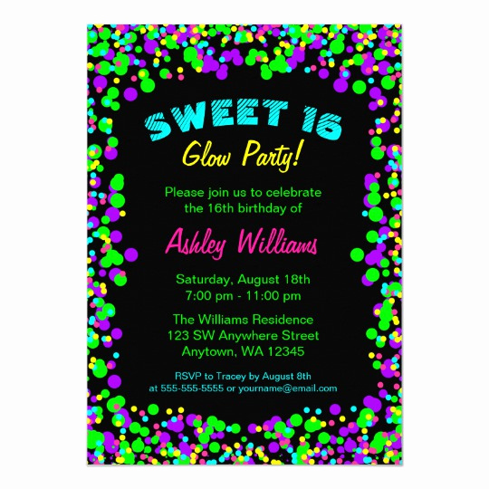Glow Party Invitation Template Free Best Of Sweet 16 Neon Glow Confetti Birthday Party Card