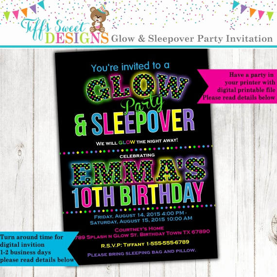 Glow Party Invitation Template Free Elegant Glow In the Dark Sleepover Party Birthday Party