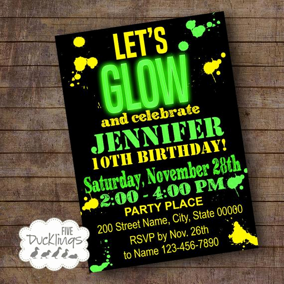 Glow Party Invitation Template Free Fresh Let S Glow Birthday Invitation Glow In the Dark by 5ducklings