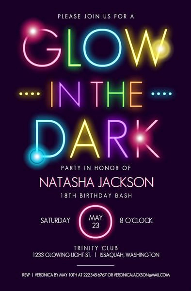 Glow Party Invitation Template Free Inspirational 17 Best Ideas About Teen Birthday Invitations On Pinterest