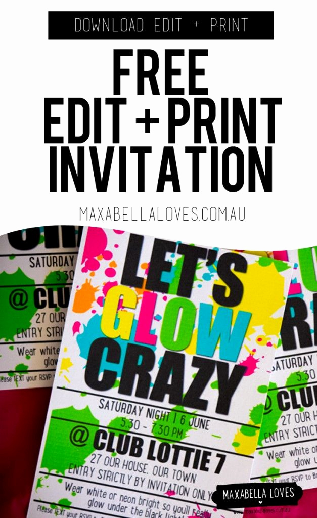 Glow Party Invitation Template Free Inspirational Free Glow Party Invitation Edit and Print