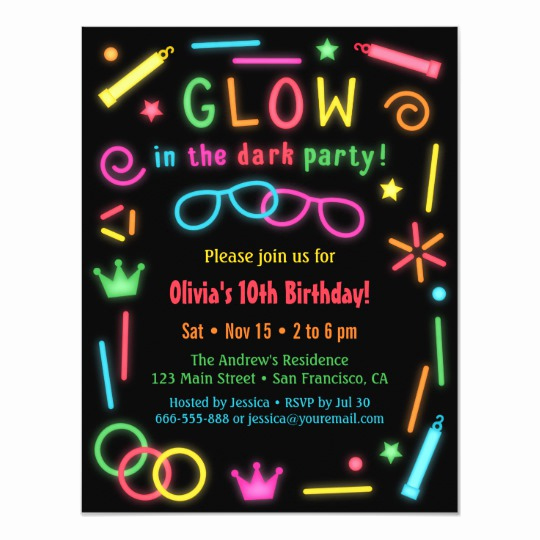 Glow Party Invitation Template Free Lovely Faux Glow In the Dark Birthday Party Invitations