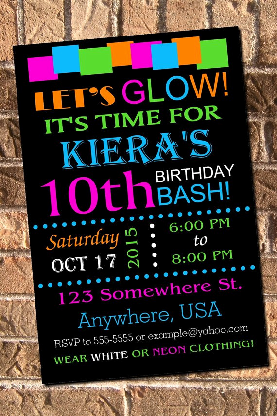 Glow Party Invitation Template Free Lovely Glow Party Invitations Free Printable