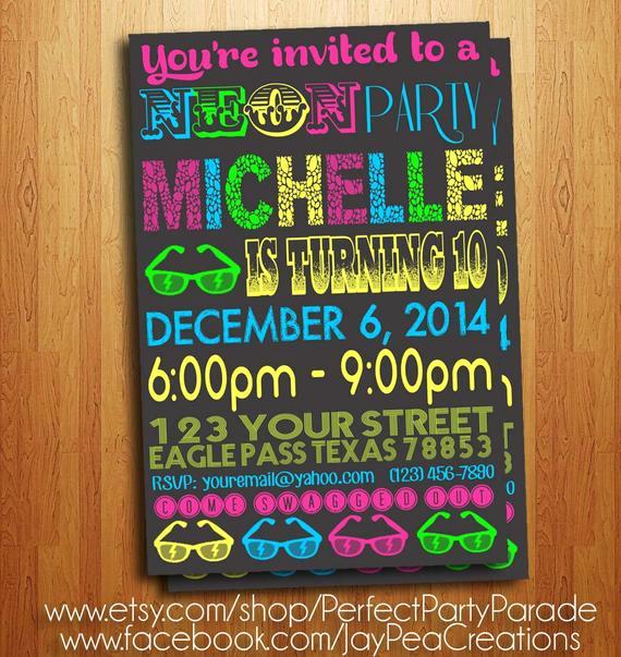 Glow Party Invitation Template Free Luxury Glow Party Chalkboard Neon Invitation Printable Diy Invite