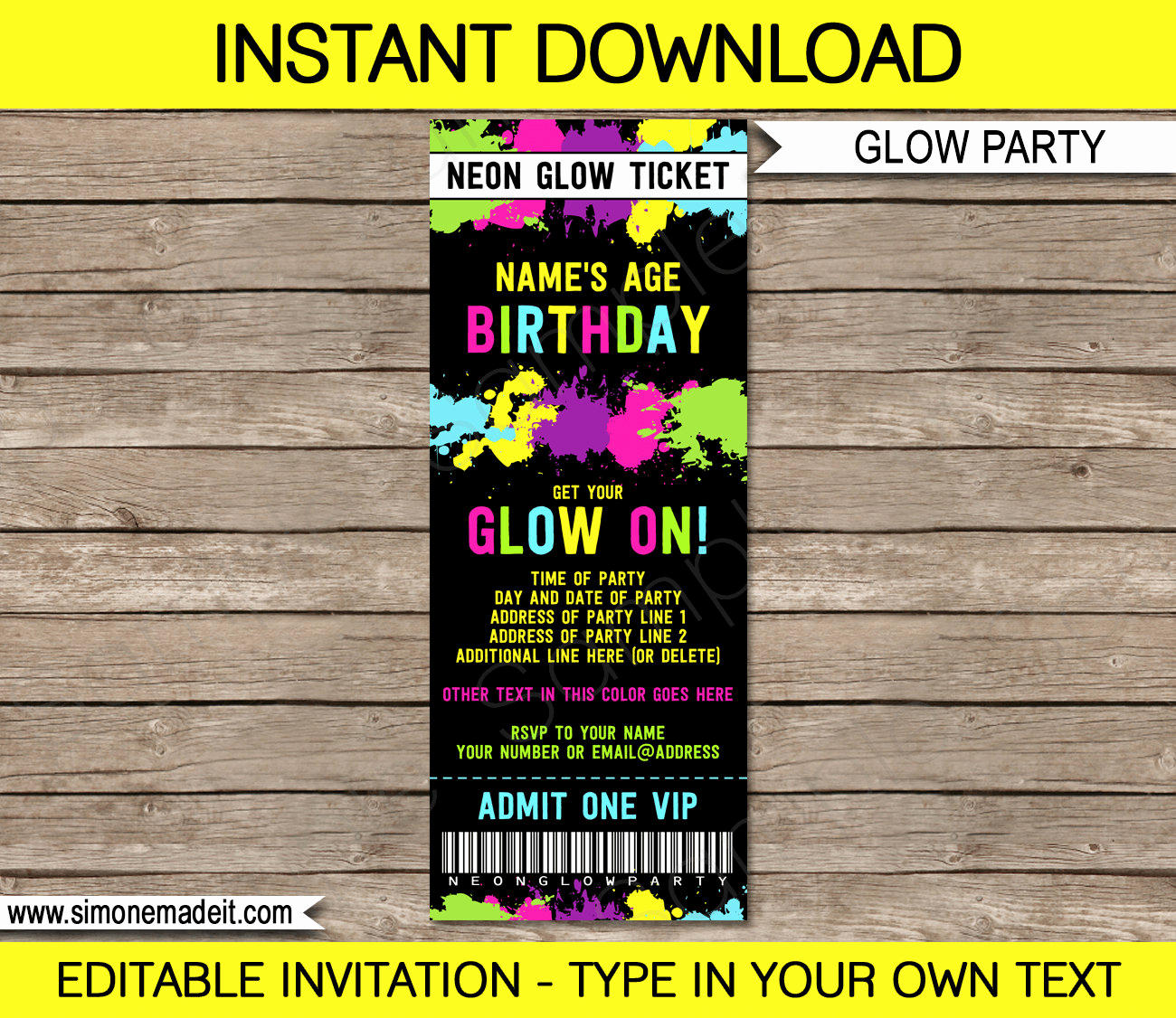 Glow Party Invitation Template Free Luxury Neon Glow Party Ticket Invitation Neon Glow theme Birthday