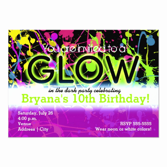 Glow Party Invitation Template Free New Glow Neon Paint Splatter Birthday Party Invitation