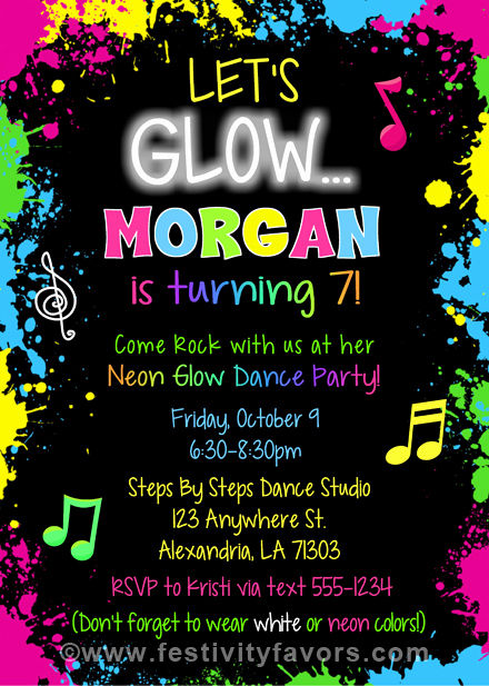 Glow Party Invitation Template Free Unique Glow Dance Party Birthday Invitations