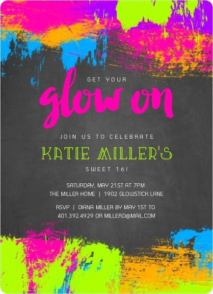 Glow Party Invitation Template Free Unique Pin On Sweet Sixteen Party Ideas