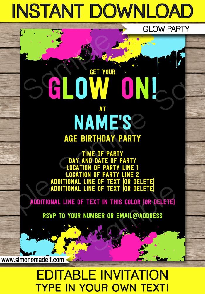 Glow Party Invitation Template Inspirational Neon Glow Party Invitations Template