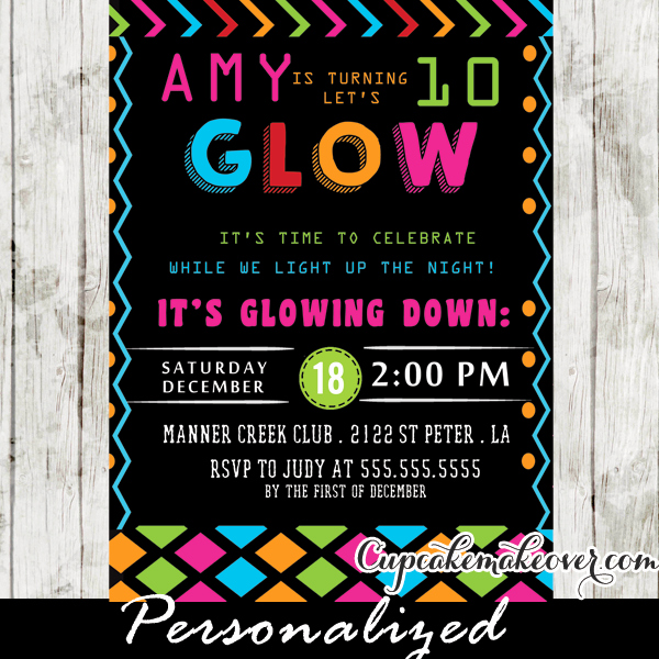 Glow Party Invitation Template Lovely Glow In the Dark Dance Party Invitations Girls Neon