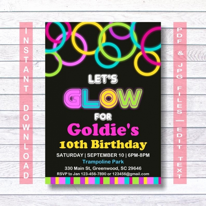Glow Party Invitation Template Lovely Great Glow In the Dark Invitation Templates Collection