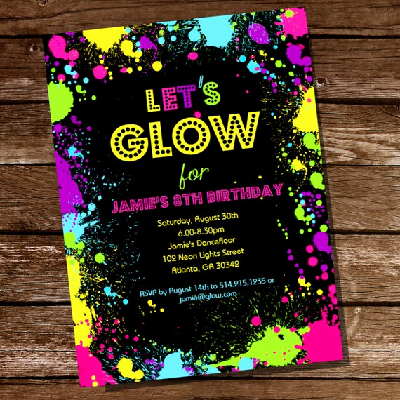 Glow Party Invitation Template Lovely Neon Glow Party theme Invitation Instantly Downloadable