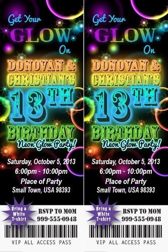 Glow Party Invitation Template Luxury Neon Glow Birthday Party Invitation Ticket Stub In the