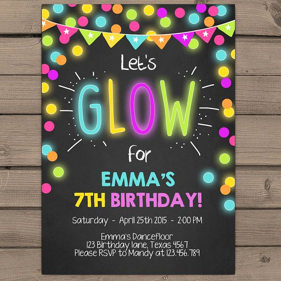 Glow Party Invitation Template Unique Best 25 Neon Party Invitations Ideas On Pinterest