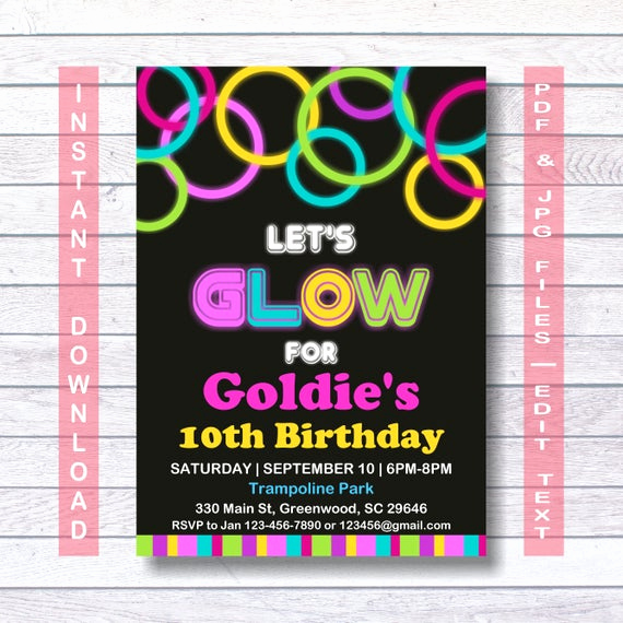 Glow Party Invitation Template Unique Glow Party Invitations Neon Glow Invitation Template