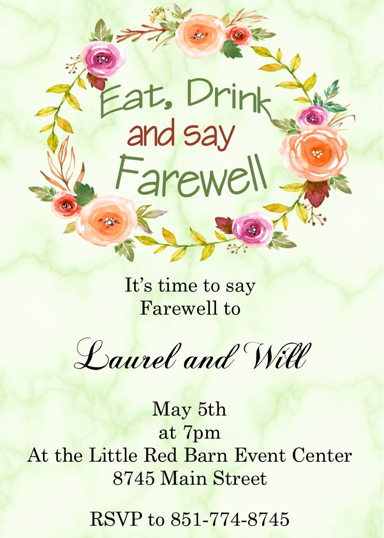 Going Away Invitation Template Beautiful Going Away Party Invitations New Selections Summer 2019
