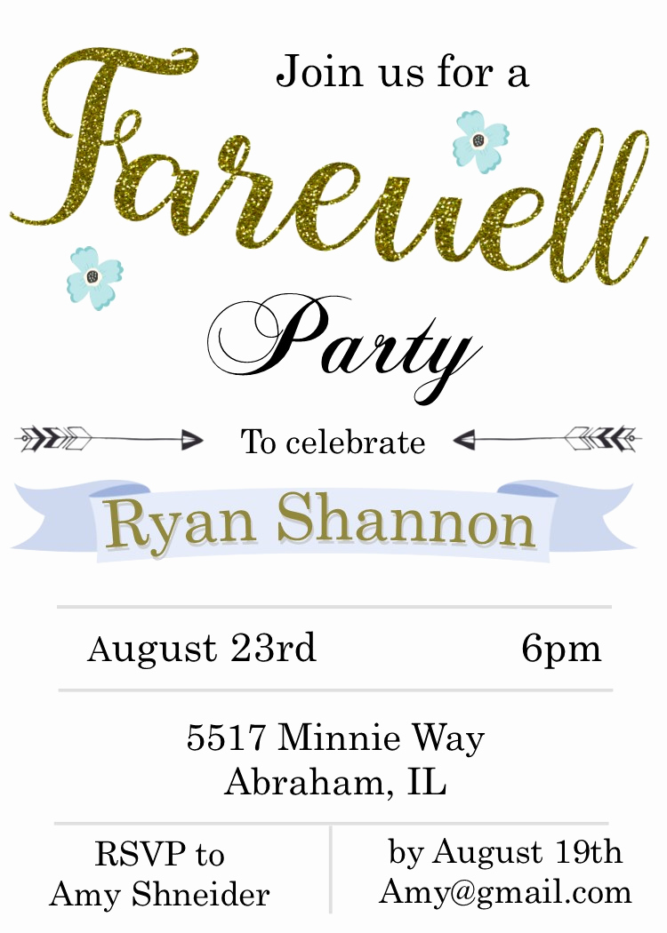 Going Away Invitation Template Fresh Going Away Party Invitations New Selections Summer 2019
