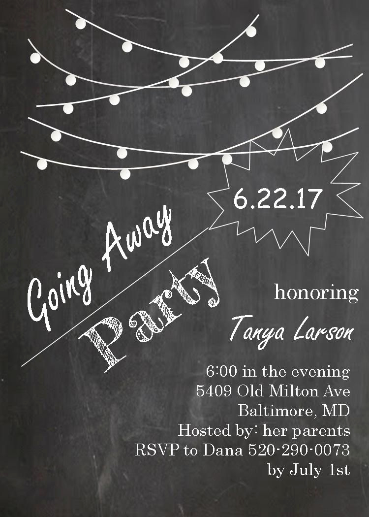 Going Away Invitation Template Lovely Going Away Party Invitations Farewell Blackboard with