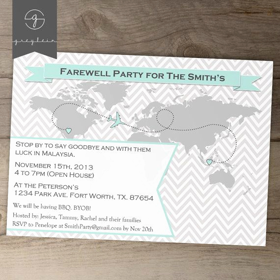Going Away Invitation Template Lovely Going Away Party Invitations World Map Goodbye Party