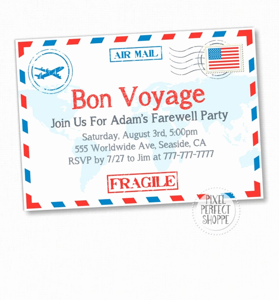 Going Away Invitation Template Lovely Items Similar to Travel Farewell Party Invitation Bon
