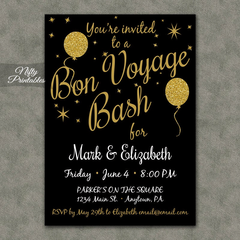 Going Away Party Invitation Fresh Bon Voyage Invitations Printable Black & Gold Bon Voyage