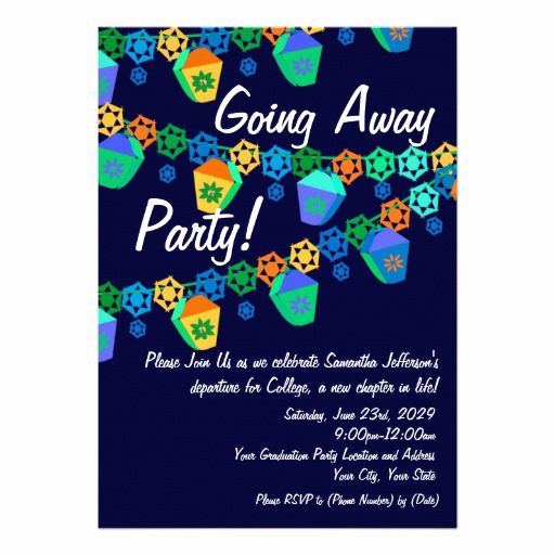 "Going Away Party Invitation Inspirational Colorful Blue Lanterns Going Away Party Invitation 5"" X 7"