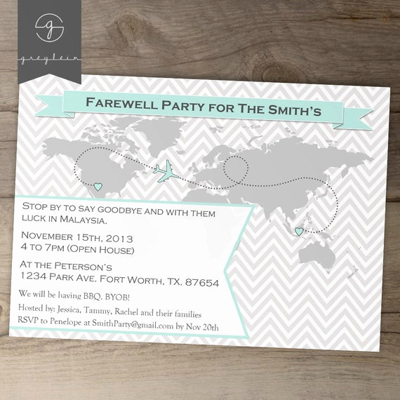 Going Away Party Invitation Template Awesome Going Away Party Invitations World Map Goodbye Party by