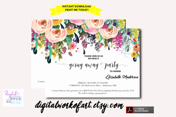 Going Away Party Invitation Template Unique Going Away Party Invitation Template Printable Diy Watercolor