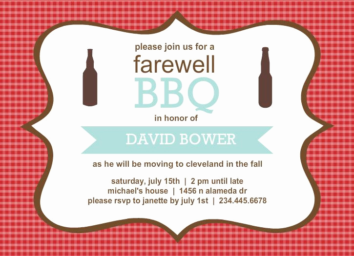Going Away Party Invitation Wording Best Of Farewell Party Invitations Checkered Backyard Bbq
