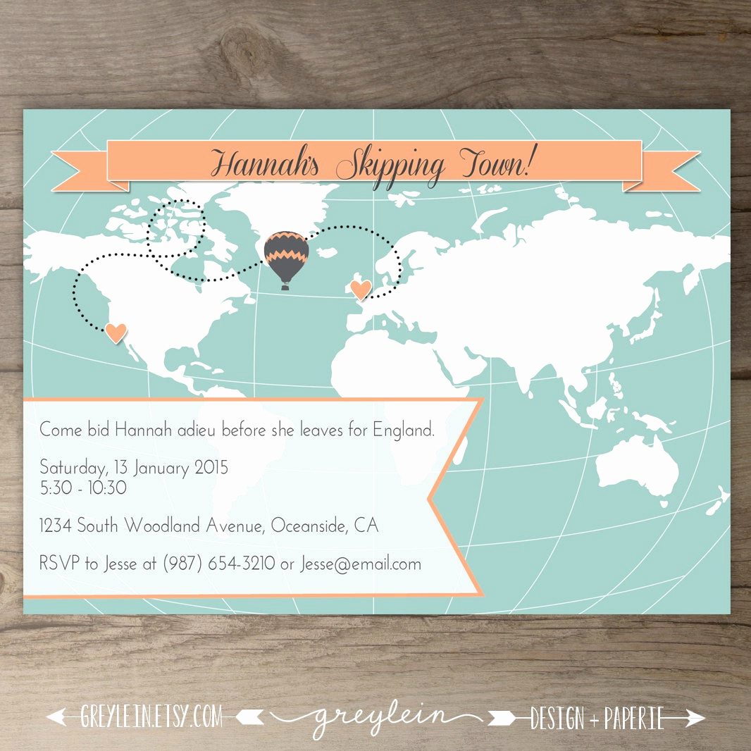 Going Away Party Invitation Wording Inspirational World Map Going Away Party Invitations Goodbye Party Invites