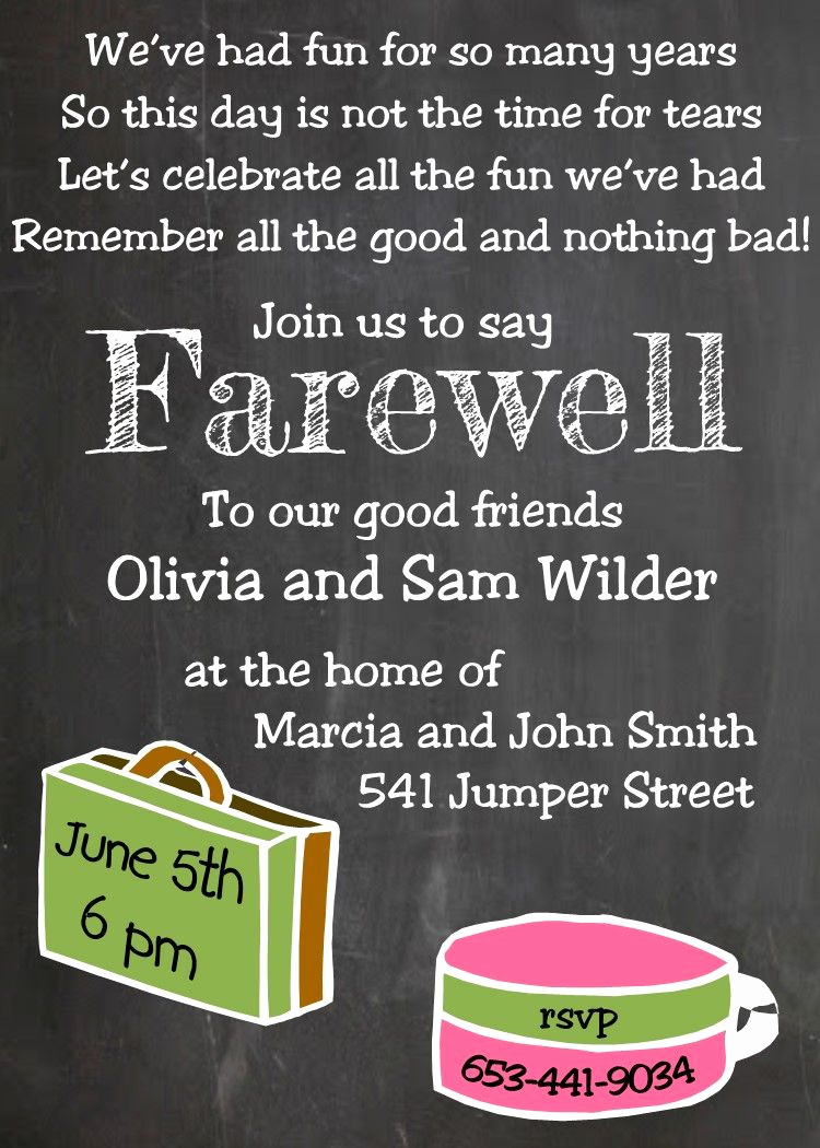 Going Away Party Invitation Wording Luxury Going Away Party Invitations New Selections Chalkboard
