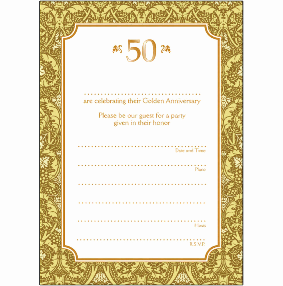 Golden Anniversary Invitation Wording Beautiful Pack Of 10 Golden Wedding Anniversary Party Invitations