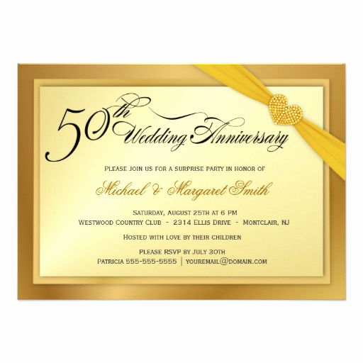 "Golden Anniversary Invitation Wording Best Of 50th Golden Wedding Anniversary Invitations 4 5"" X 6 25"