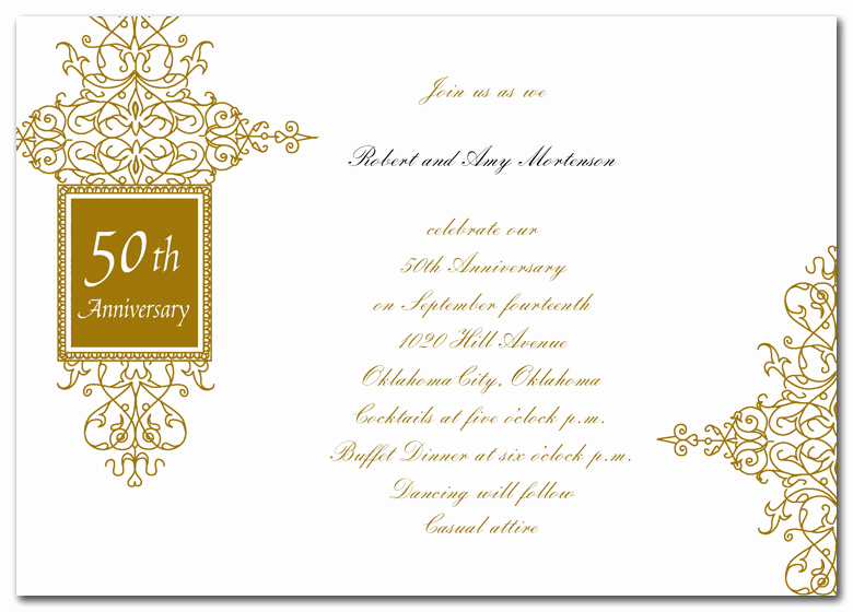 Golden Anniversary Invitation Wording Best Of Golden Anniversary Bliss Anniversary Invitations by