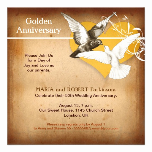"Golden Anniversary Invitation Wording Best Of Golden Anniversary Invitation 5 25"" Square Invitation Card"