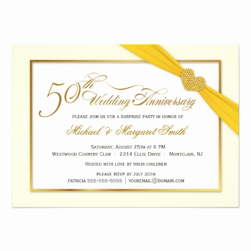 "Golden Anniversary Invitation Wording Elegant 50th Golden Wedding Anniversary Invitations 4 5"" X 6 25"