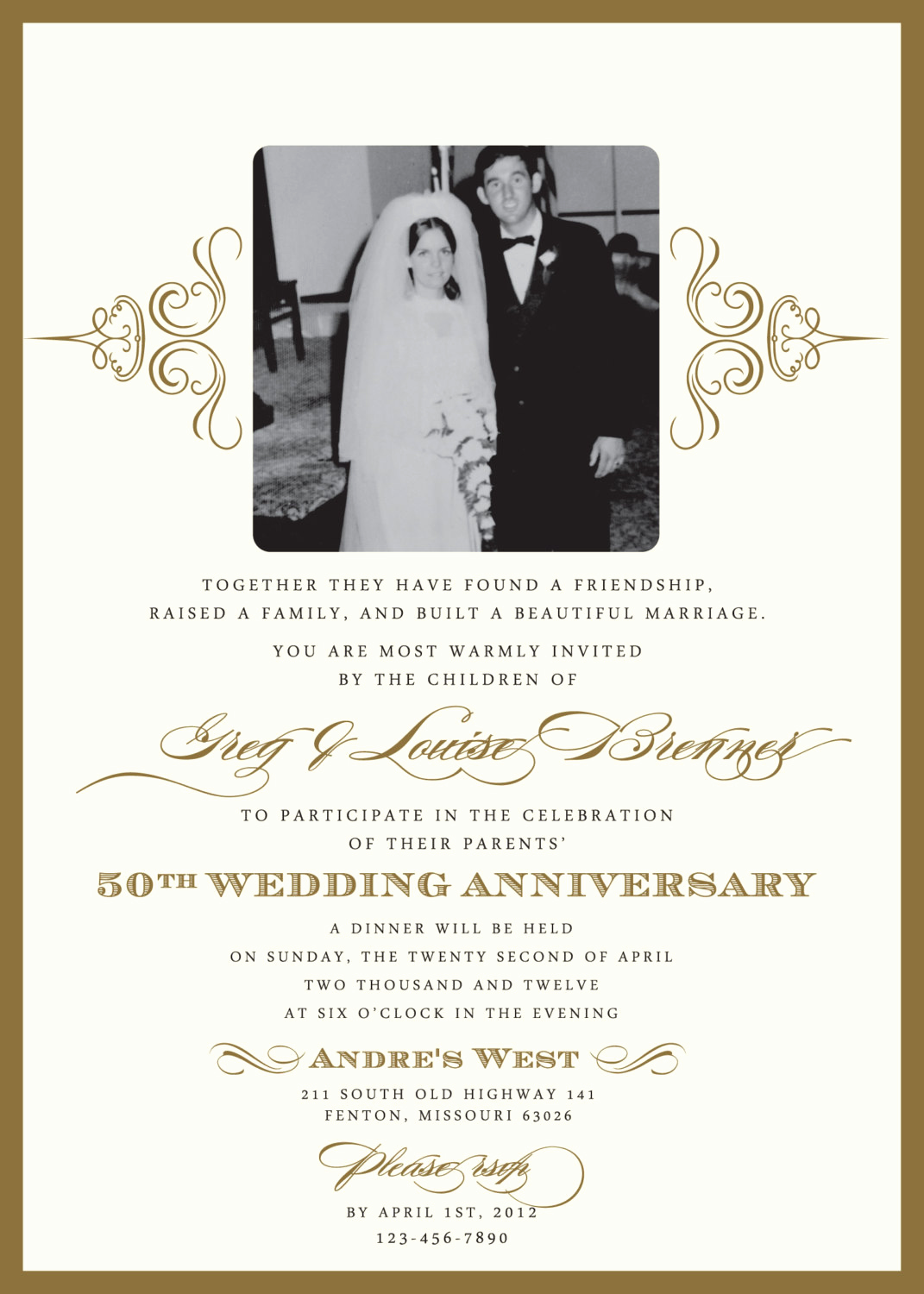 Golden Anniversary Invitation Wording Fresh Golden 50th Anniversary Party Invitation