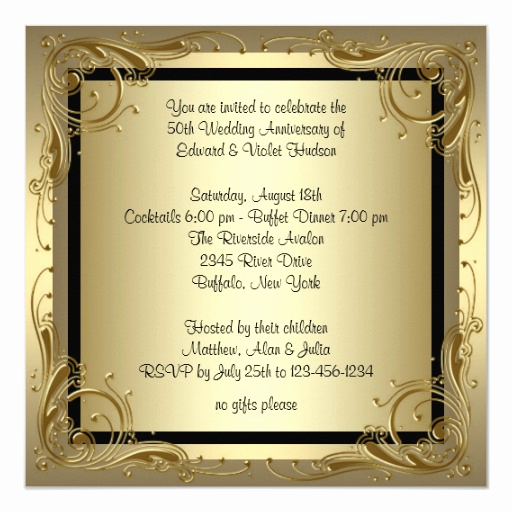 Golden Anniversary Invitation Wording Inspirational Elegant Gold 50th Wedding Anniversary Party Invitation