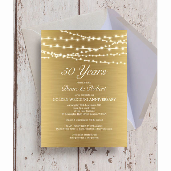 gold fairy lights 50th golden wedding anniversary invitation