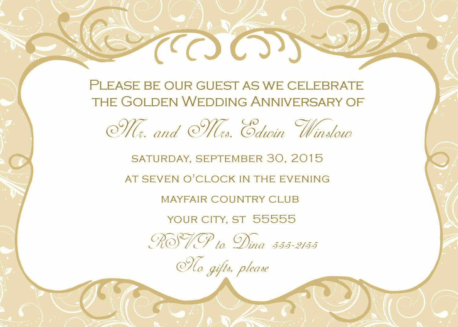 Golden Anniversary Invitation Wording Lovely 50th Wedding Anniversary Invitation