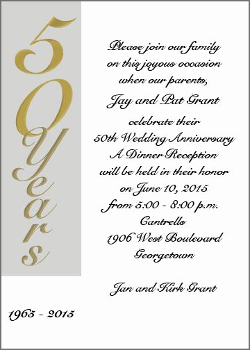 Golden Anniversary Invitation Wording Lovely Anniversary Invitations 50th