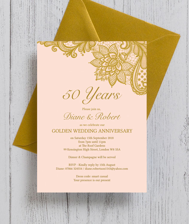 Golden Anniversary Invitation Wording Lovely Gold Lace Inspired 50th Golden Wedding Anniversary