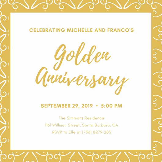 Golden Anniversary Invitation Wording Lovely Golden Anniversary Invitations