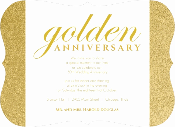 Golden Anniversary Invitation Wording Lovely Shimmering Golden 50th Anniversary Party Invitation