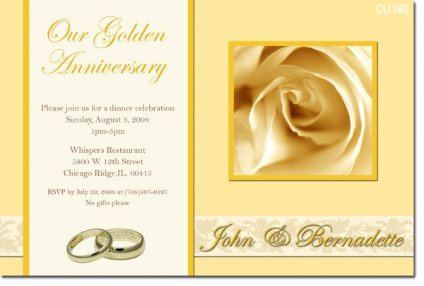 Golden Anniversary Invitation Wording Luxury 50th Golden Anniversary Invitations