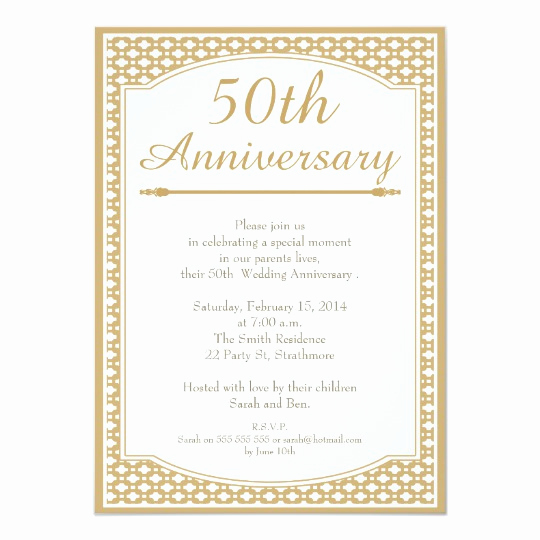 Golden Anniversary Invitation Wording Luxury 50th Wedding Anniversary Invitation